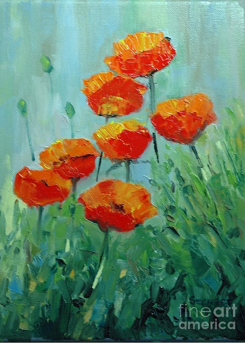 Floral Greeting Card featuring the painting Poppies For Sally by Glenn Secrest