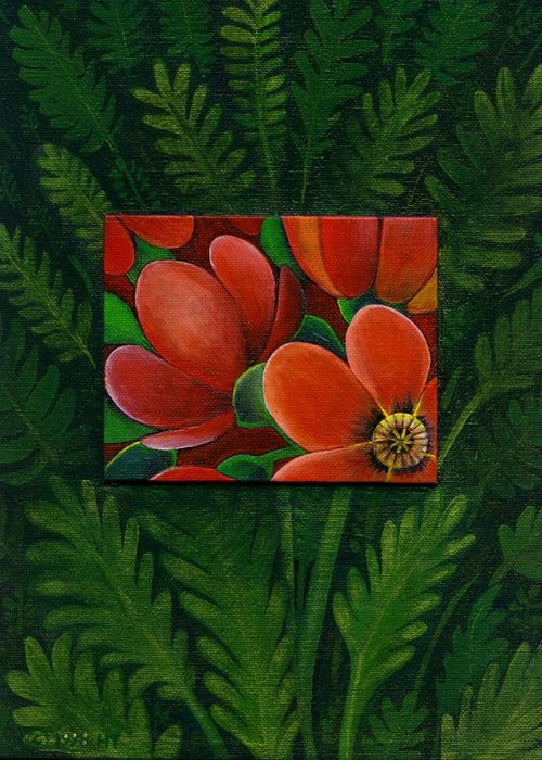 Poppy Greeting Card featuring the painting Poppies by Helena Tiainen