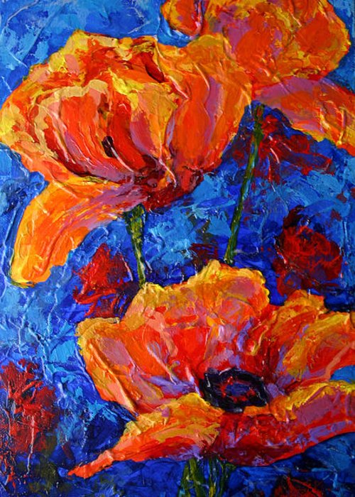 Poppies Greeting Card featuring the painting Poppies II by Marion Rose