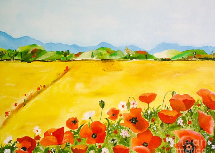 Poppies Greeting Card featuring the painting Poppies In Alentejo by Nela Vicente