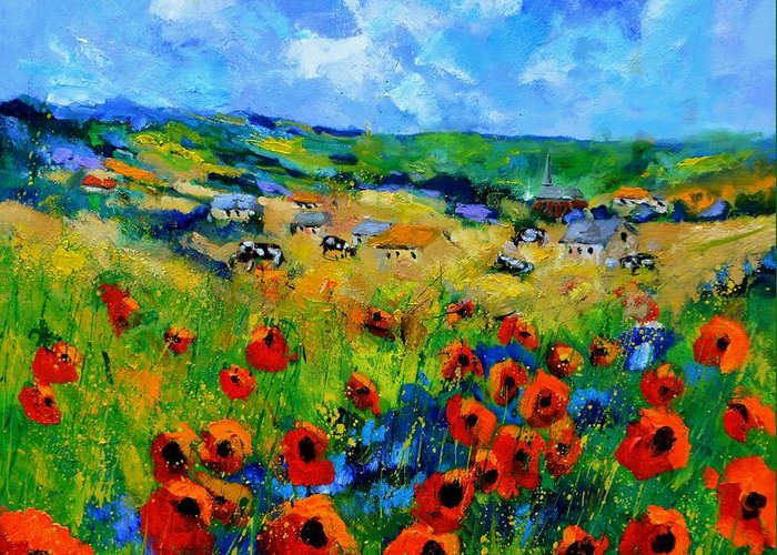 Landscape Greeting Card featuring the painting Poppies in Ieper by Pol Ledent