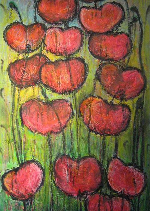 Poppies Greeting Card featuring the painting Poppies In Oil by Laurie Maves ART