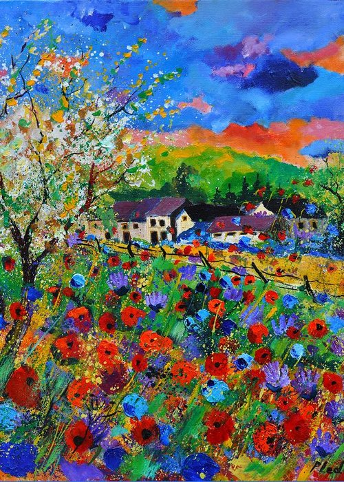Poppies Greeting Card featuring the painting Poppies in Sorinnes by Pol Ledent