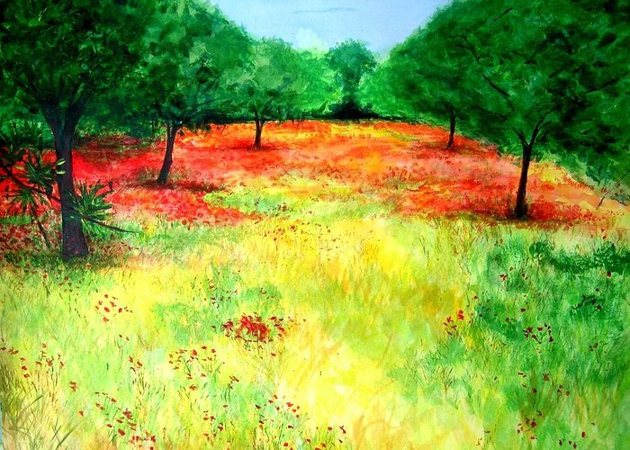 Landscape Greeting Card featuring the painting Poppies In The Almond Grove by Lizzy Forrester