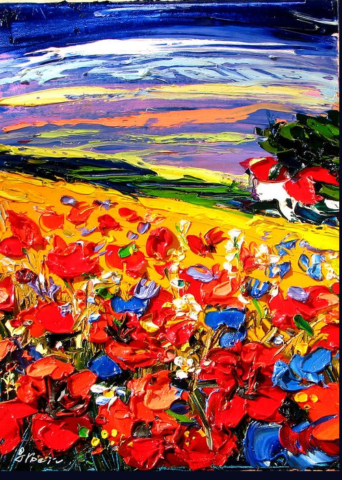 Artwork Greeting Card featuring the painting Poppies In The Spring Time. by Maya Green