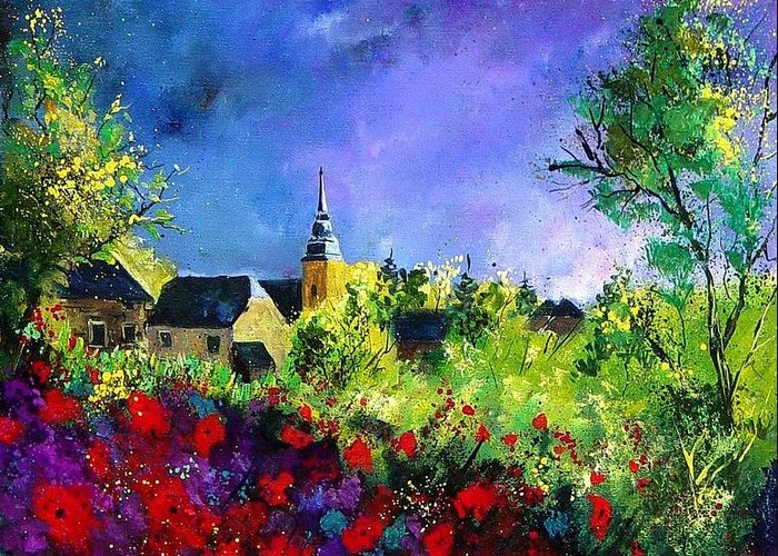 Flowers Greeting Card featuring the painting Poppies In Villers by Pol Ledent