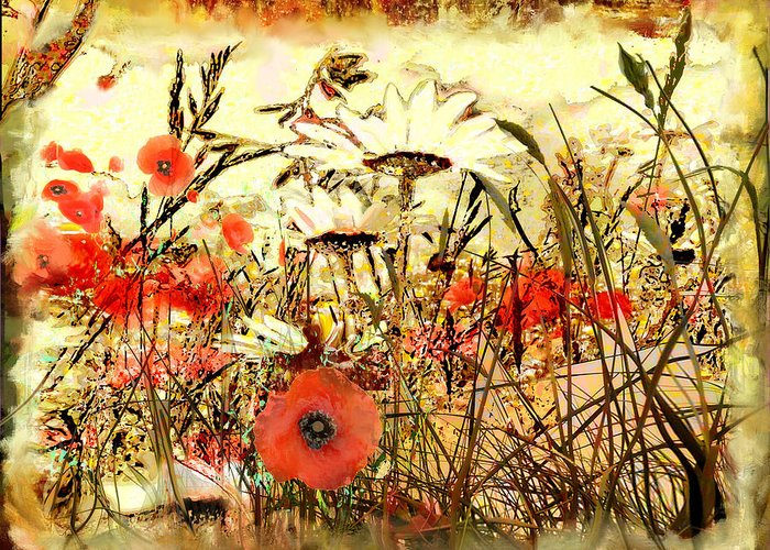Papaver Greeting Card featuring the painting Poppies In Waving Corn by Anne Weirich
