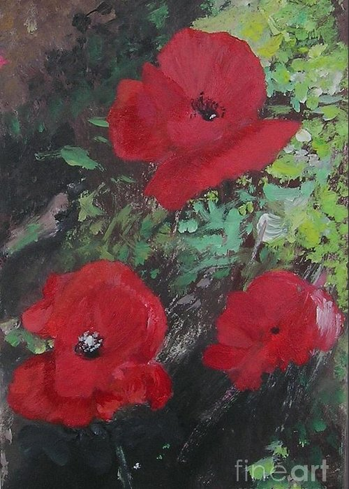 Red Greeting Card featuring the painting Poppies by Lizzy Forrester
