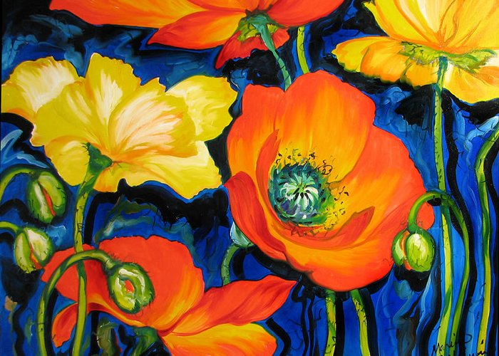 Poppy Greeting Card featuring the painting Poppies by Marcia Baldwin