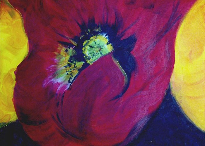 Poppies Greeting Card featuring the painting Poppies Nod To O'keefe by Karen McNamara