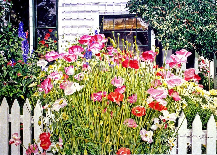 Watercolor Greeting Card featuring the painting Poppies On Niagara Street by David Lloyd Glover