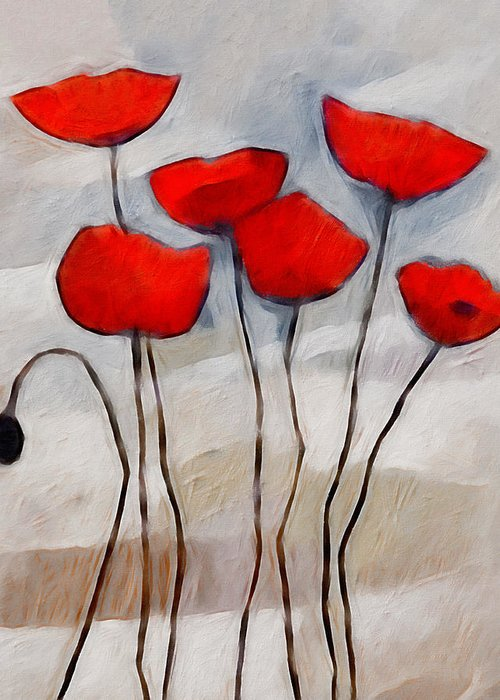 Poppies Greeting Card featuring the painting Poppies Painting by Lutz Baar