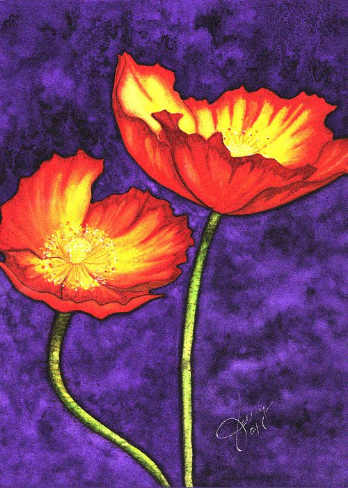 Watercolor Greeting Card featuring the painting Poppies by Stephanie Jolley