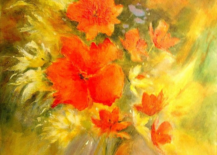 Canvas Prints Greeting Card featuring the painting Poppy Bouquet by Madeleine Holzberg