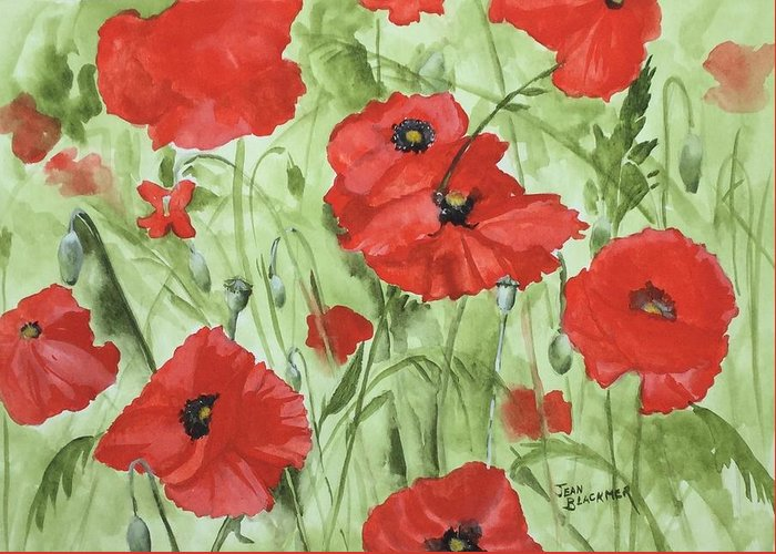 Red Greeting Card featuring the painting Poppy Field 1 by Jean Blackmer