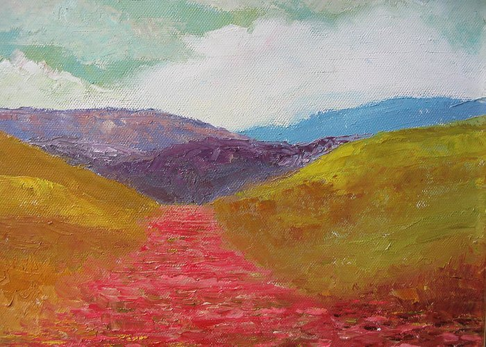 Landscape Greeting Card featuring the painting Poppy Field by Belinda Consten