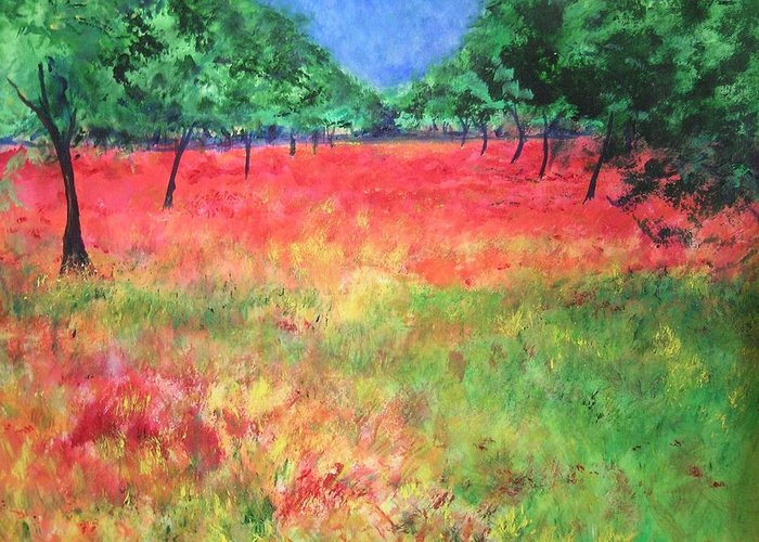 Original Landscape Painting. Poppy Field Greeting Card featuring the painting Poppy Field II by Lizzy Forrester