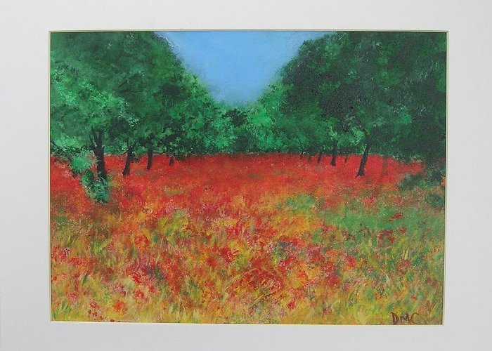 Poppy Greeting Card featuring the painting Poppy Field In Ibiza by Lizzy Forrester