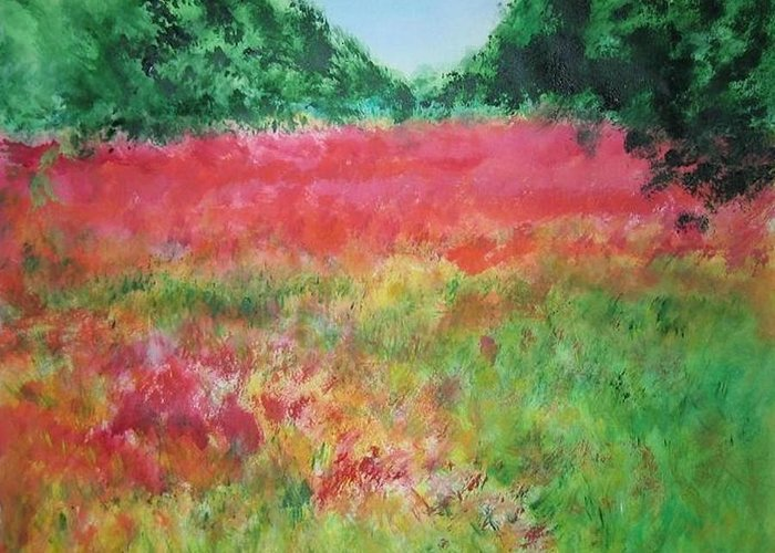 Lanscape Greeting Card featuring the painting Poppy Field by Lizzy Forrester