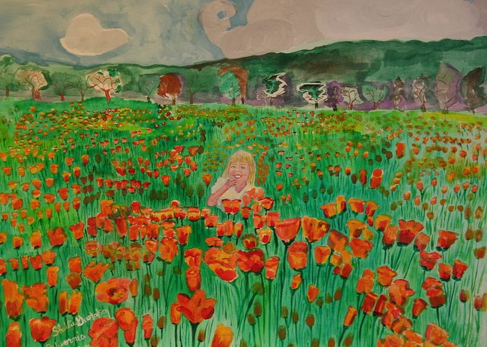 Poppy Fields Girl Flowers Greeting Card featuring the painting Poppy Field by Shellie Gustafson