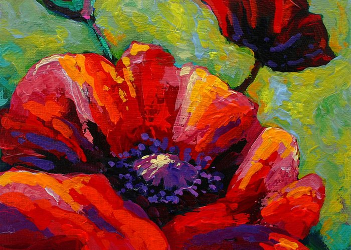 Poppies Greeting Card featuring the painting Poppy I by Marion Rose