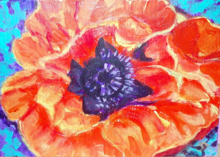 Floral Greeting Card featuring the painting Poppy Love by Lia Marsman