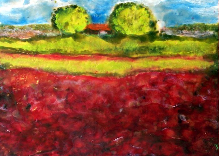 Landscape Greeting Card featuring the painting Poppy Meadow by Karla Phlypo-Price