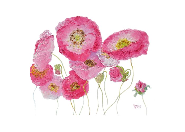 Poppies Greeting Card featuring the painting Poppy Painting On White Background by Jan Matson