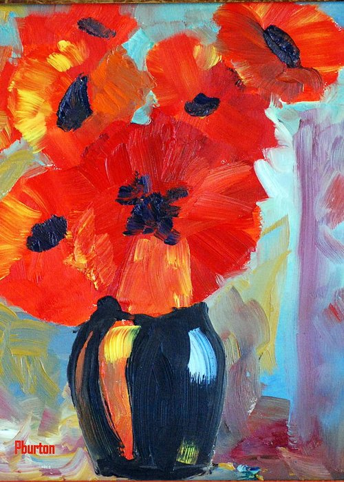Poppy Greeting Card featuring the painting Poppy by Phil Burton