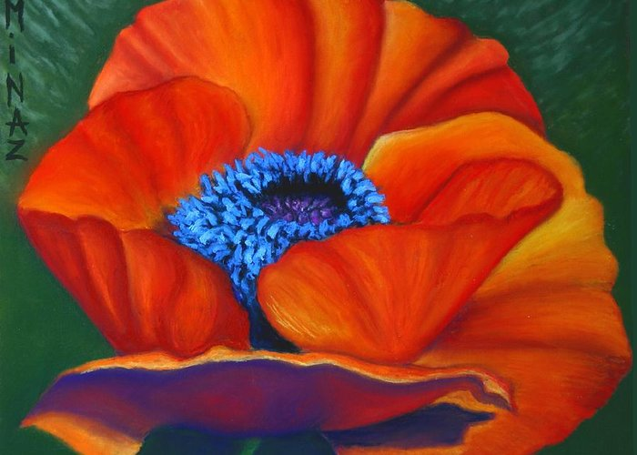 Red Flower Greeting Card featuring the painting Poppy Pleasure by Minaz Jantz