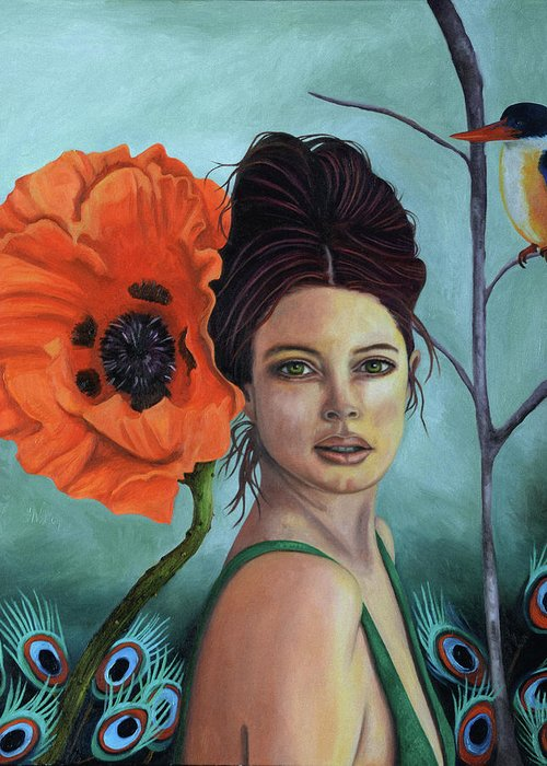 Poppy Greeting Card featuring the painting Poppy Updated Photo by Leah Saulnier The Painting Maniac