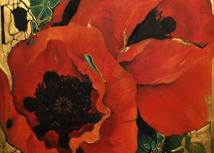 Lin Petershagen Greeting Card featuring the painting Poppygold by Lin Petershagen