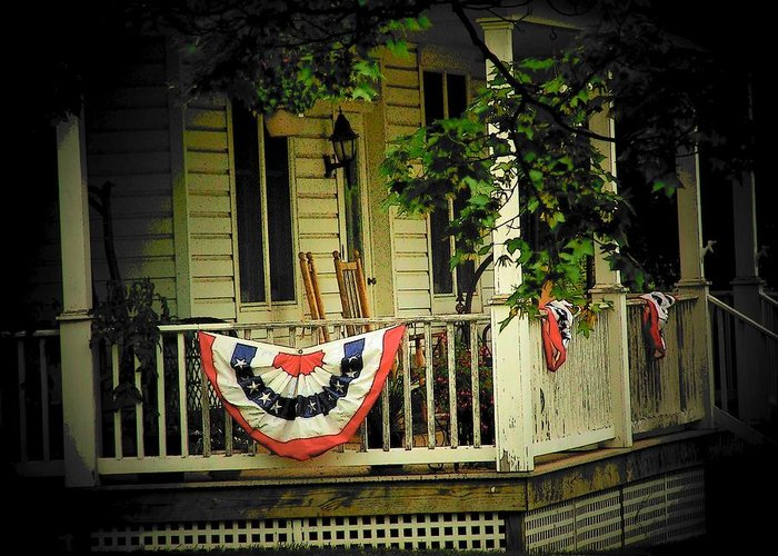 Porch Greeting Card featuring the photograph Porch Flag by Michael L Kimble