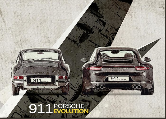 Porsche Greeting Card featuring the digital art Porsche 911 Evolution by Yurdaer Bes