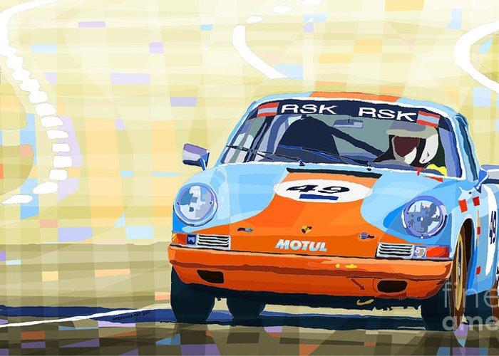 Automotiv Greeting Card featuring the digital art Porsche 911 S Classic Le Mans 24 by Yuriy Shevchuk