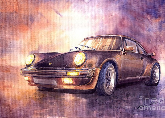 Shevchukart Greeting Card featuring the painting Porsche 911 Turbo 1979 by Yuriy Shevchuk