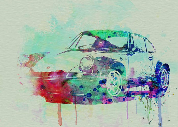 Porsche 911 Greeting Card featuring the painting Porsche 911 Watercolor 2 by Naxart Studio