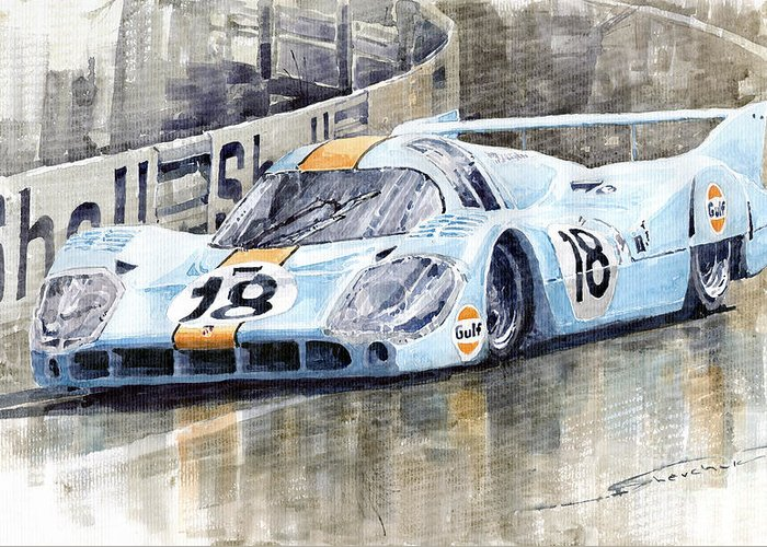 Watercolor Greeting Card featuring the painting Porsche 917 Lh 24 Le Mans 1971 Rodriguez Oliver by Yuriy Shevchuk