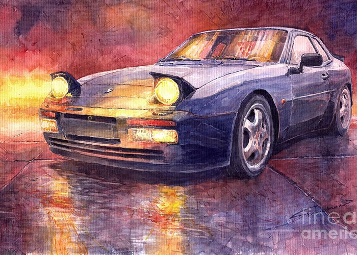 Auto Greeting Card featuring the painting Porsche 944 Turbo by Yuriy Shevchuk