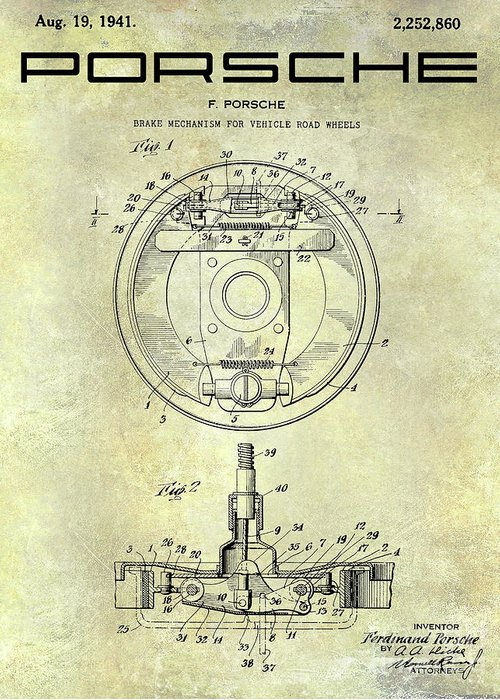 Porsche Patent Greeting Card featuring the photograph Porsche Brake Mechanism Patent by Jon Neidert