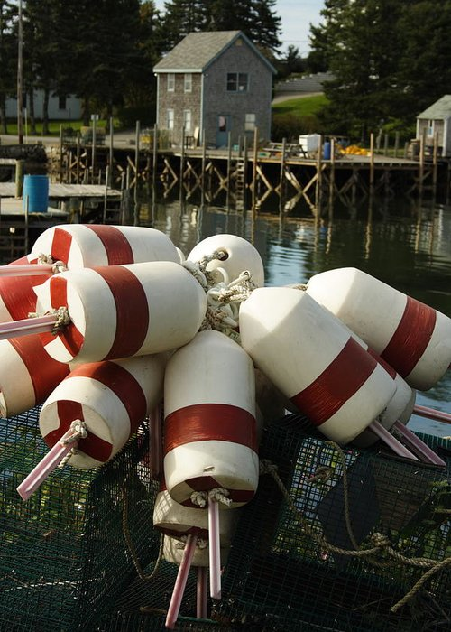 Seascape Greeting Card featuring the photograph Port Clyde Maine Bouys by Doug Mills