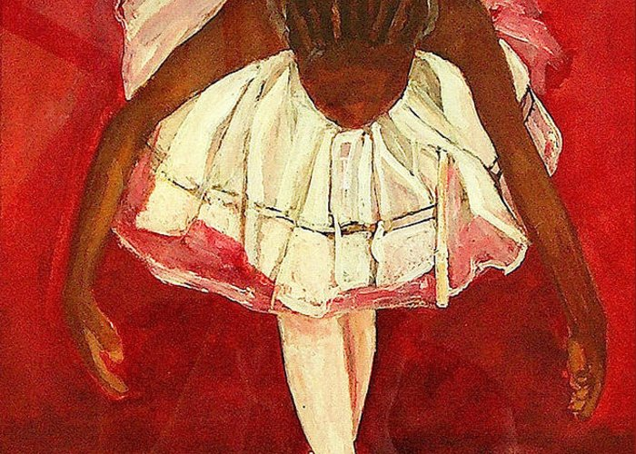 Ballerina Greeting Card featuring the painting Port De Bras Forward by Amira Najah Whitfield