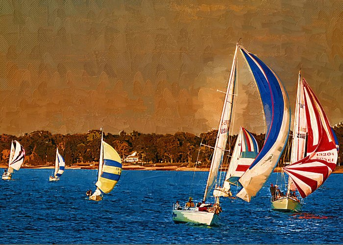 Lake Huron Greeting Card featuring the digital art Port Huron Sailboat Race by Paul Bartoszek