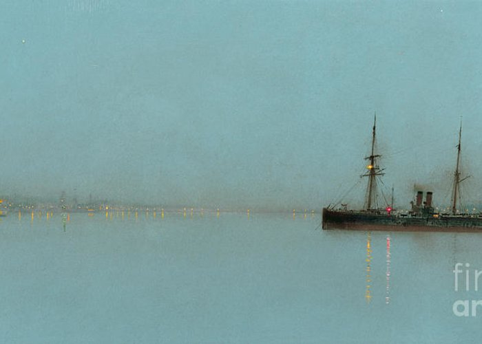 Port Greeting Card featuring the painting Port Light by John Atkinson Grimshaw