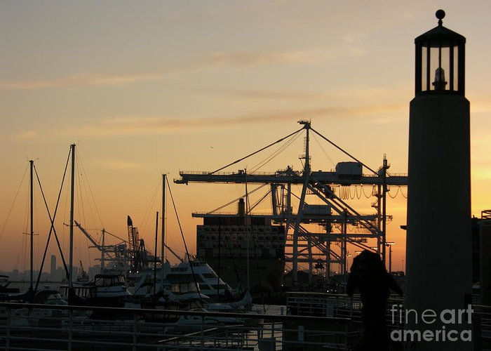 Oakland Greeting Card featuring the photograph Port Of Oakland Sunset by Carol Groenen