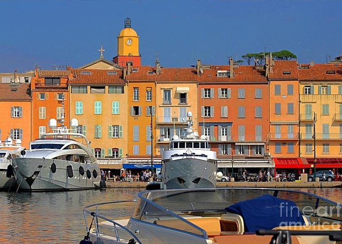 Architecture Greeting Card featuring the photograph Port Of Saint-tropez In France by Giancarlo Liguori