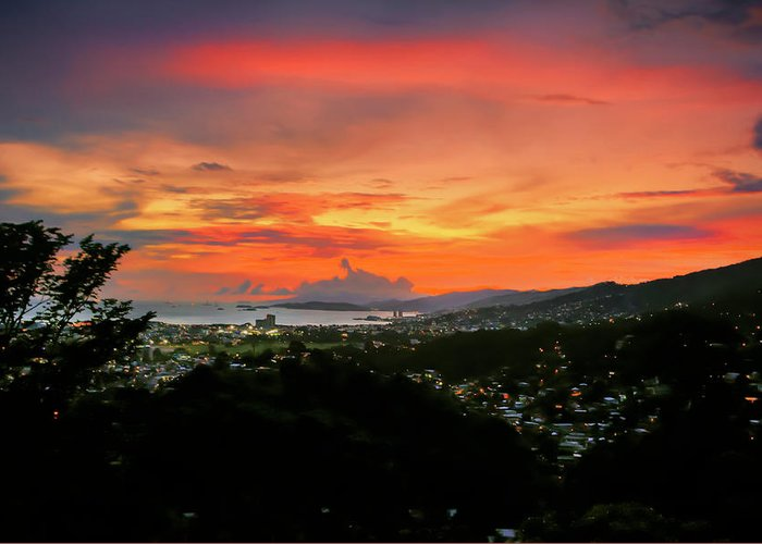 Port Of Spain Greeting Card featuring the photograph Port Of Spain Sunset by Nadia Sanowar