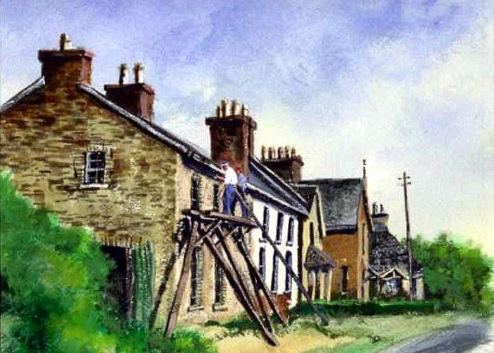Water Color Greeting Card featuring the painting Port Rush Gutter Repair by Jim Gola