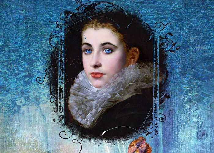 Women.vintage Greeting Card featuring the painting Portal Portrait by Laura Botsford