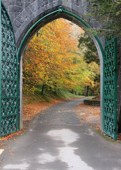Doorway Greeting Card featuring the photograph Portal To The Colorful Autumn Season by Pierre Leclerc Photography